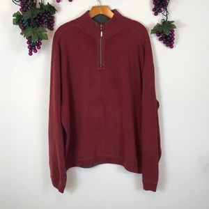 Tommy Bahama red 1/4 zip mock pullover swe…